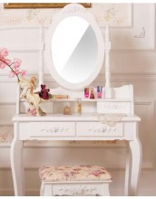 Gene 2 drawer dressing table with matching mirror W90