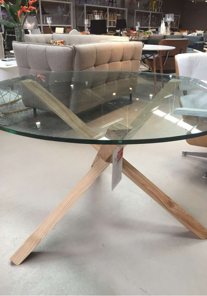 home elles round glass dining table 120 cm