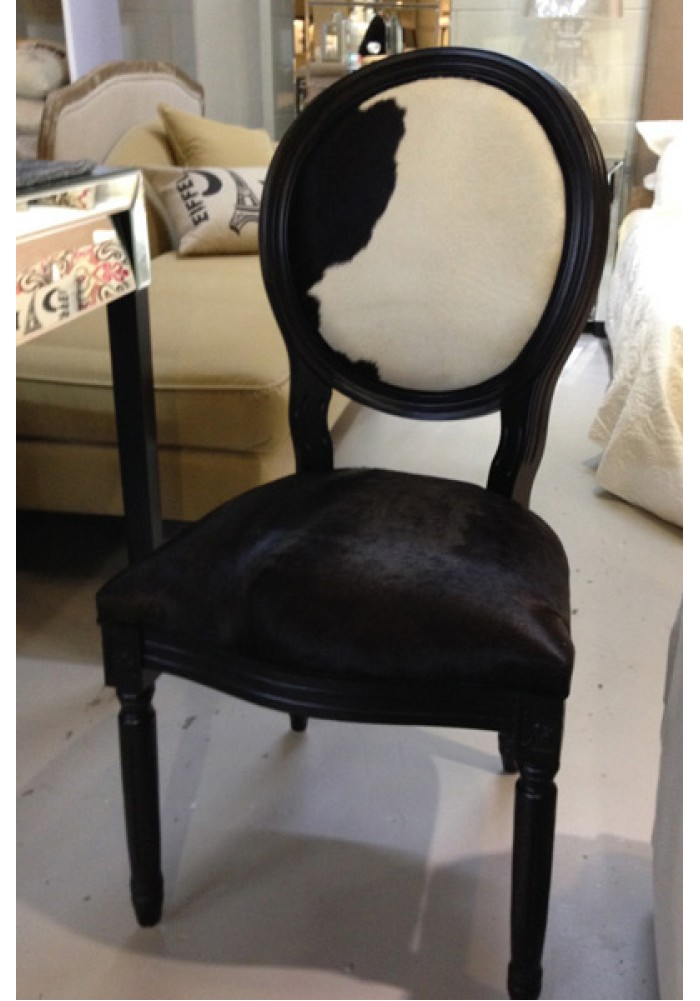Louise Chair In Cowhide Skin Painted Black Frame