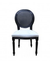 Louise Side Chair With Rattan Back In Black Frame