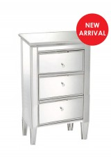 Chelsea mirrored bedside table 3 drawer