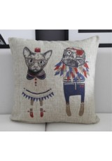 Cartoon Animal Cushion - Cat & Bird