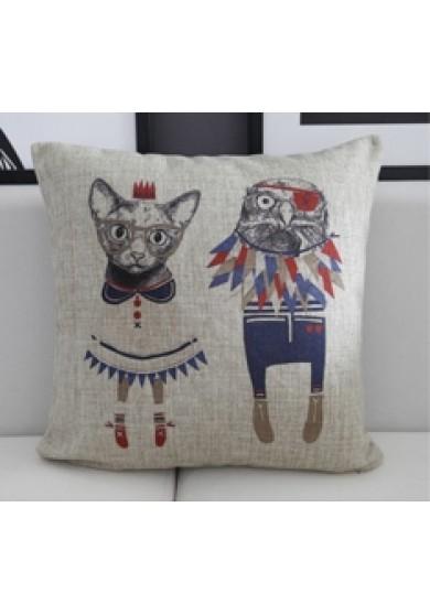 Cartoon Animal Cushion - Cat & Bird