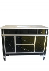 Austin Mirrored Single Vanity W110cm Marble Top - Black mirroed