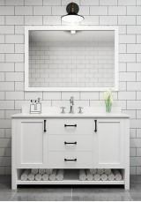 Eman Single Vanity Marble Top 120cm with Mirror