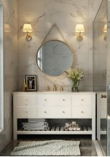 Ercilia Single Vanity  Marble Top 135m With Mirror