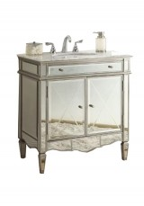 Ashmont Mirrored Single Vanity 85W Marble Top