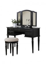 Habeeb Dressing Table with Mirror and Stool - Black / White