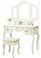 Scipio Dressing Table with Mirror & Stool - Black / White