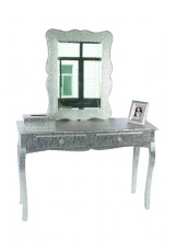 Silver Embossed Metal Dressing Table Large W100
