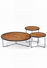 Fabre Round Coffee Table Set of 3 - Wooden top