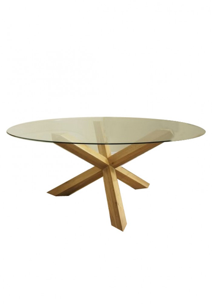 Elles Round Glass Top Dining Table Dia120cm