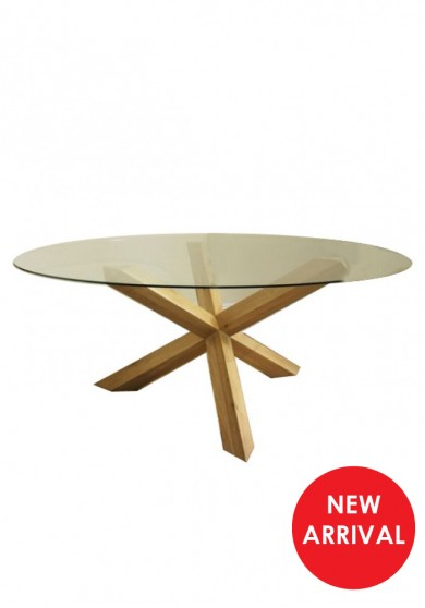 Elles Round Glass Dining Table 120 Dia