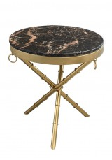 Bara Side Table Dia50cm - Natural Stone top