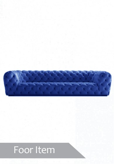 Lucy Buttoned Sofa Four Seater - Blue velvet