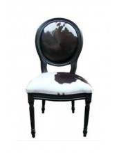 Louise Chair in Cowhide Skin Painted Black Frame