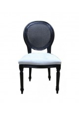 Louise Chair in Rattan Back with Black Frame