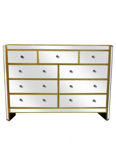 Cara 9 Drawer Mirrored Chest W131cm