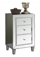 Brasen Mirrored Bedside Table  3 Drawer