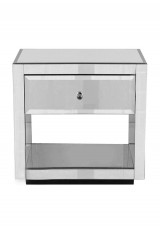 Braylon Mirrored Bedside Table with Shelf W55cm
