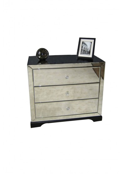Bentley 3 Drawer Mirrored Bedside Table W60cm