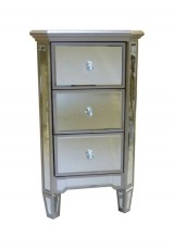 Candice 3 Drawer Mirrored Bedside