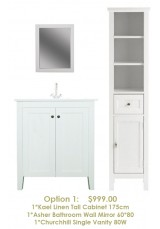 Vanity + linen cabinet + mirror 3 piece bathroom package