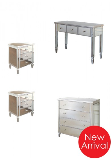 Jenna Mirrored Bedroom Package 3/4 pieces