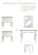 White Shiny PU Bedroom set of 5   **Perfect for Girls Bedroom**